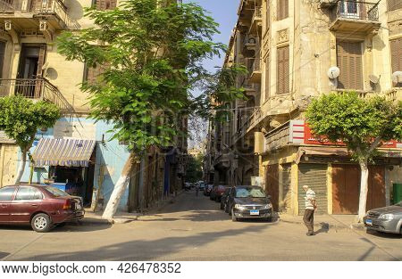 Cairo - Egypt - October 4, 2020: View Of Cairo Old Historical Residential District With Narrow Stree
