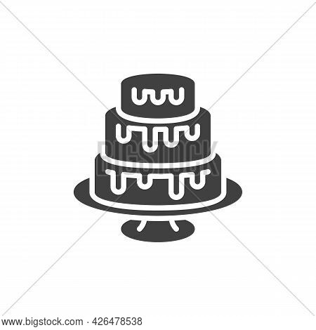 Three-layer Cake Vector Icon. Filled Flat Sign For Mobile Concept And Web Design. Three Tiers Cake G