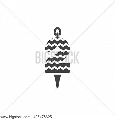Two Years Birthday Candle Vector Icon. Filled Flat Sign For Mobile Concept And Web Design. Number 2