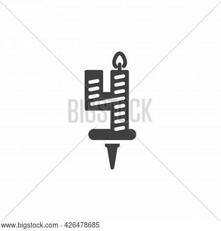 Four Years Birthday Candle Vector Icon. Filled Flat Sign For Mobile Concept And Web Design. Number 4