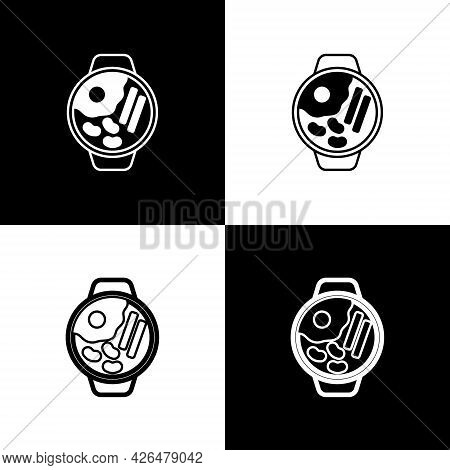 Set Ramen Soup Bowl With Noodles Icon Isolated On Black And White Background. Bowl Of Traditional As