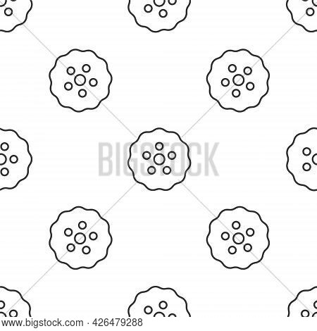 Grey Line Gear Icon Isolated Seamless Pattern On White Background. Cogwheel Gear Settings Sign. Cog