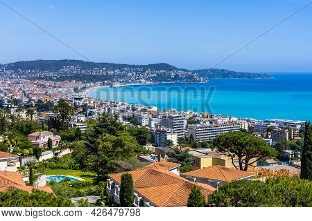 Nice, France - 13.05.2021: Scenic Panoramic View Of Nice, Famous Tourists Street Promenade Des Angla