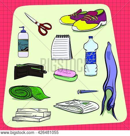 Big Set Of Random Everyday Household Objects. Shoes Scissor Shampoo Notepad Water Bottle Apron Soap