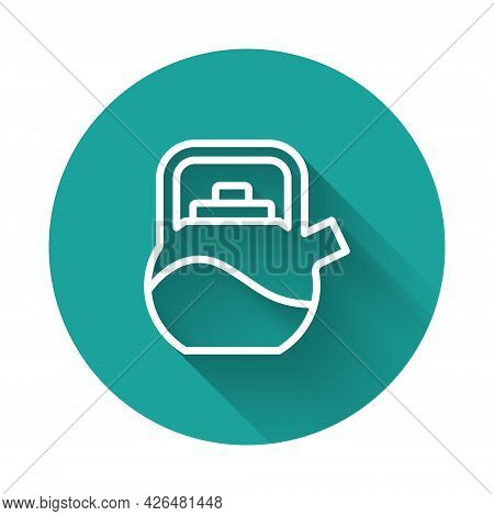 White Line Kettle With Handle Icon Isolated With Long Shadow Background. Teapot Icon. Green Circle B
