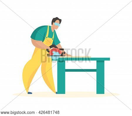 Carpenter At Sawing Table. Fast Wood Cutting With Power Tool. Male Character In Uniform With Circula
