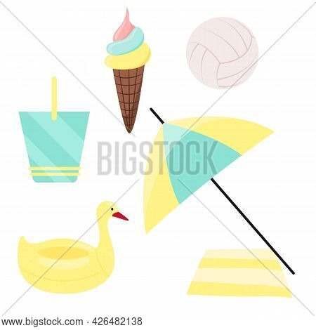 Bright Set Of Beach Objects Elements. Summer Collection Of Items For Vacation. Ice Cream Cone, Volle