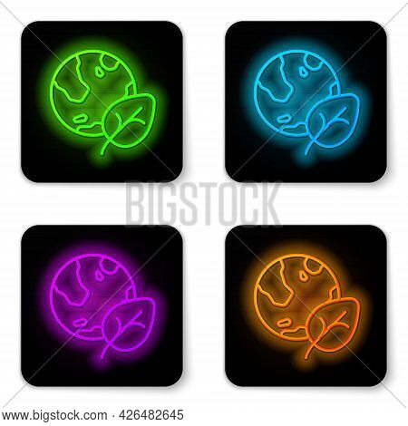 Glowing Neon Line Earth Globe And Leaf Icon Isolated On White Background. World Or Earth Sign. Geome