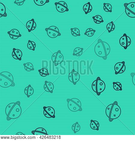 Black Line Planet Saturn With Planetary Ring System Icon Isolated Seamless Pattern On Green Backgrou