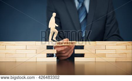 New Mindset Motivation Concept With Wooden Blocks. Set New Philosophy Of Life In New Era After Crisi