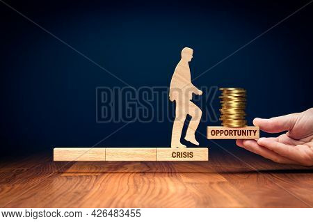 Crisis Is Opportunity To Growth And Monetize Success - Concept With Wooden Block And Coins.