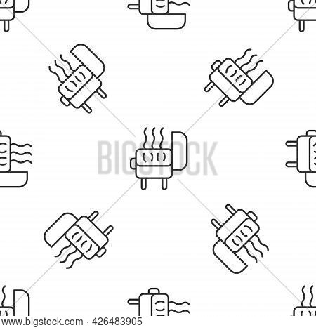 Grey Line Barbecue Grill Icon Isolated Seamless Pattern On White Background. Bbq Grill Party. Vector