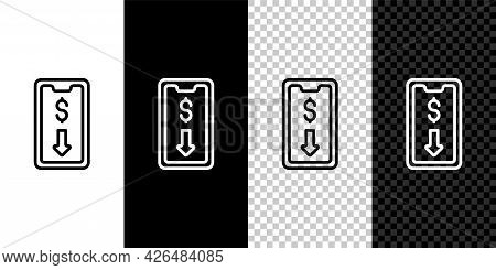 Set Line Mobile Stock Trading Concept Icon Isolated On Black And White, Transparent Background. Onli