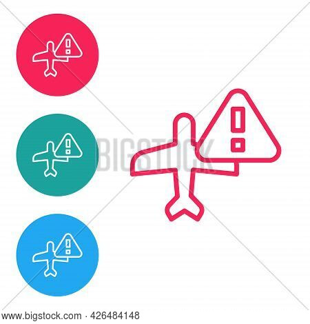 Red Line Warning Aircraft Icon Isolated On White Background. Faulty Plane. Flying Prohibition Zone.