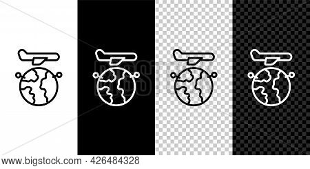 Set Line Globe With Flying Plane Icon Isolated On Black And White, Transparent Background. Airplane