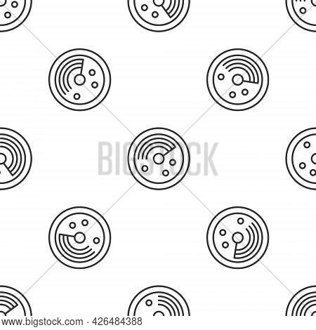 Grey Line Radar With Targets On Monitor In Searching Icon Isolated Seamless Pattern On White Backgro