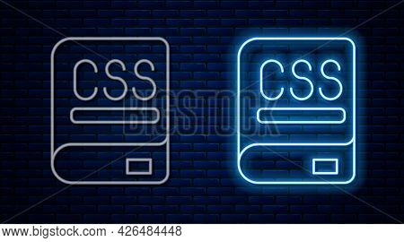 Glowing Neon Line Books About Programming Icon Isolated On Brick Wall Background. Programming Langua
