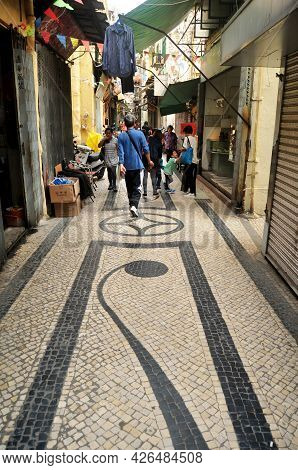 Macanese People And Foreign Travelers Walk Travel Visit Shopping Small Alley Travessa Da Paixao In S