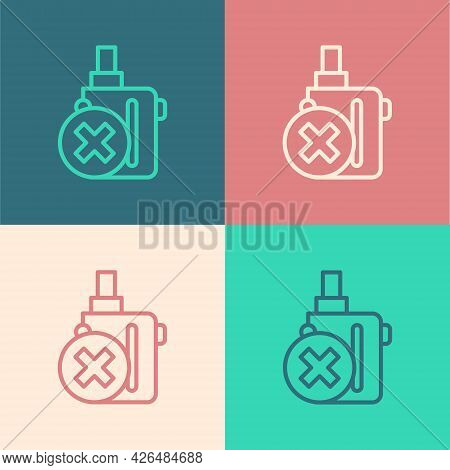 Pop Art Line Electronic Cigarette Icon Isolated On Color Background. Vape Smoking Tool. Vaporizer De