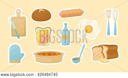 Cooking Food Stickers. Delicious Scrambled Eggs With Sliced Loaf Bread. Casserole Soup And Hot Dog T