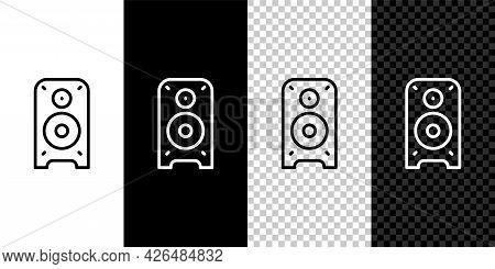 Set Line Stereo Speaker Icon Isolated On Black And White, Transparent Background. Sound System Speak