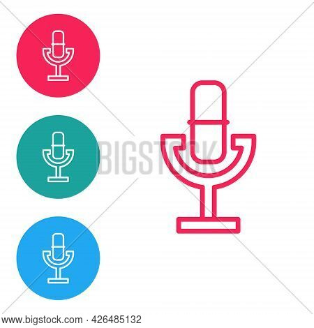 Red Line Microphone Icon Isolated On White Background. On Air Radio Mic Microphone. Speaker Sign. Se