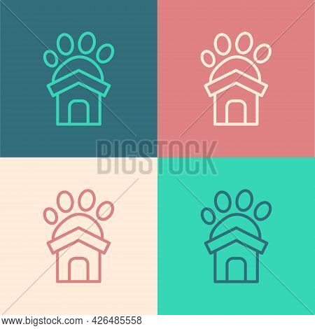 Pop Art Line Animal Shelter House Icon Isolated On Color Background. Vector