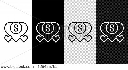Set Line Donation And Charity Icon Isolated On Black And White, Transparent Background. Donate Money