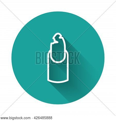 White Line Broken Nail Icon Isolated With Long Shadow Background. Cracked Fingernail. Green Circle B