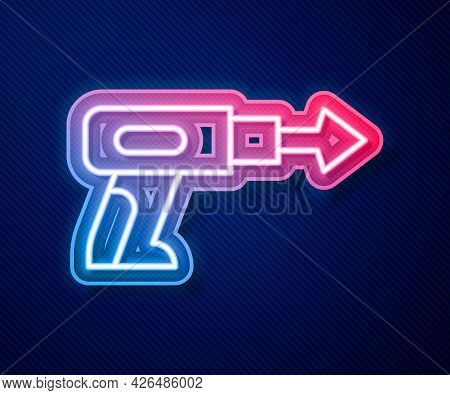 Glowing Neon Line Fishing Harpoon Icon Isolated On Blue Background. Fishery Manufacturers For Catchi
