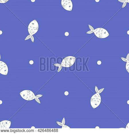 Fish Seamless Vector Pattern In A Flat Minimalism Style With Duo Tones Color - White And Blue. Two C