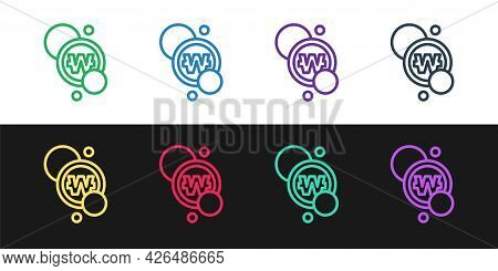 Set Line South Korean Won Coin Icon Isolated On Black And White Background. South Korea Currency Bus