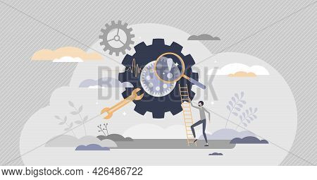 Troubleshooting And Software Failure Diagnostic Work Tiny Person Concept. Repair Errors And Technica