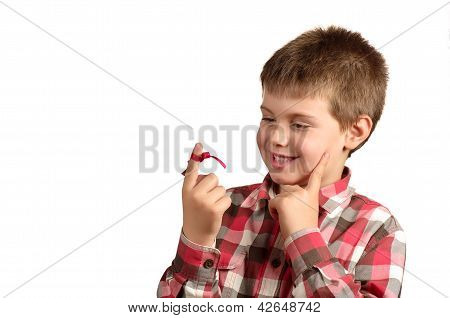 Pensive And Smiling Child On White Background
