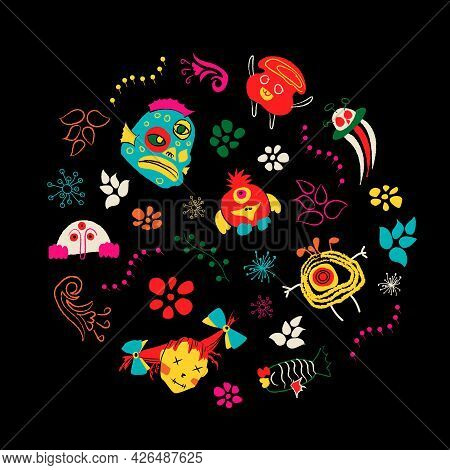 Space Colorful Monsters And Plants Set For Halloween Or Day Of The Dead. Cute Scary Funny Character
