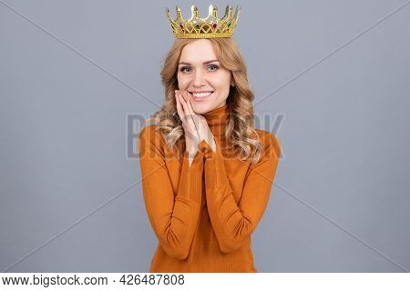 Happy Blonde Woman In Crown Hold Hands. Self Confident Queen. Expressing Smug.