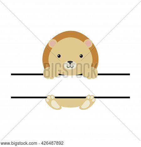 Cute Lion Split Monogram. Funny Cartoon Character For Shirt, Scrapbooking, Print, Greeting Cards, Ba
