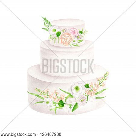 Watercolor Wedding Cake With Flowers Illustration. Hand Drawn 3 Tiered White Cream Dessert Isolated