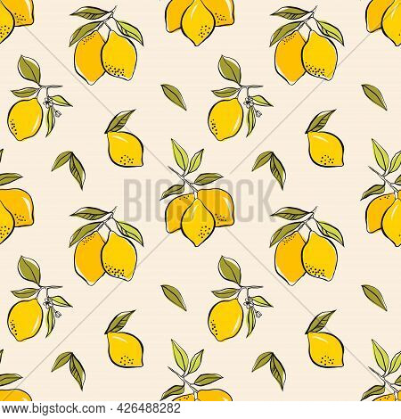Abstract Pattern With Lemons On Branch, Leaves And Geometric Shapes. Vector Seamless Texture. Tropic