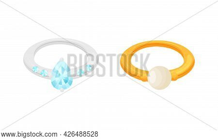 Golden And Silver Ring With Gem As Jewellery Or Jewelry Item And Personal Adornment Vector Set