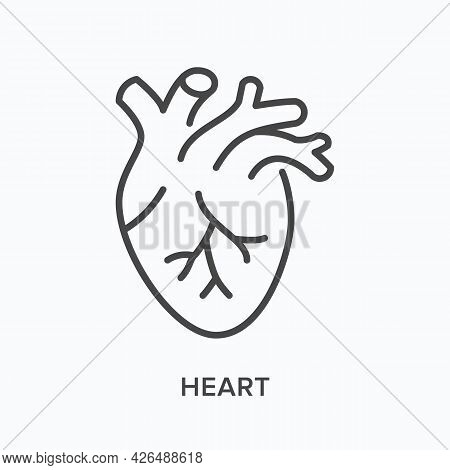 Heart Flat Line Icon. Vector Outline Illustration Of Cardio Organ. Black Thin Linear Pictogram For C