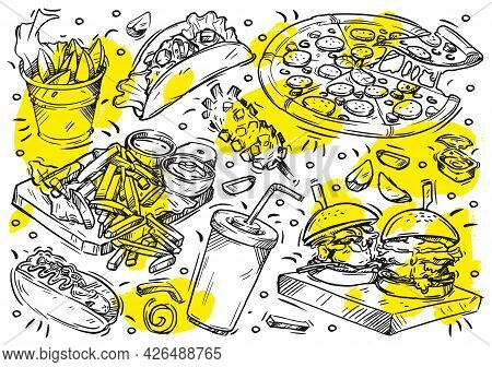 Hand Drawn Vector Line Illustration On White Background. Doodle Collection Street Fast Food Menu: Cr
