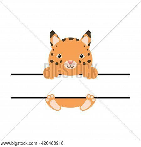 Cute Lynx Split Monogram. Funny Cartoon Character For Shirt, Scrapbooking, Print, Greeting Cards, Ba