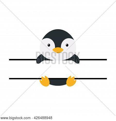 Cute Penguin Split Monogram. Funny Cartoon Character For Shirt, Scrapbooking, Print, Greeting Cards,