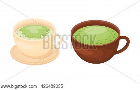 Matcha Green Tea Beverage Poured In Cup Vector Set