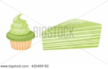 Green Matcha Dessert With Cake And Cupcake With Whipped Cream Vector Set