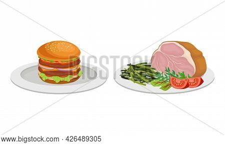 Meat Dish With Hamburger And Smoked Beef Slab Served On Plate Vector Set