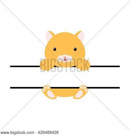 Cute Hamster Split Monogram. Funny Cartoon Character For Shirt, Scrapbooking, Print, Greeting Cards,