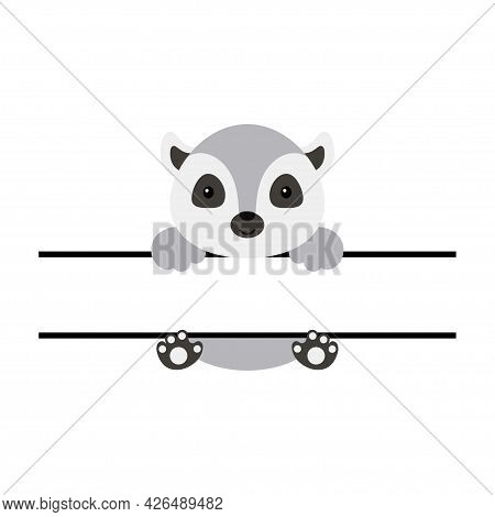 Cute Lemur Split Monogram. Funny Cartoon Character For Shirt, Scrapbooking, Print, Greeting Cards, B