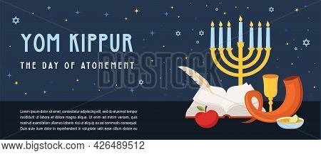 Banner For Jewish Holiday Yom Kippur And New Year, Rosh Hashanah, With Traditional Icons. Banner Wit